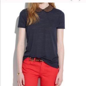 MADEWELL hi line t shirt with beaded collar